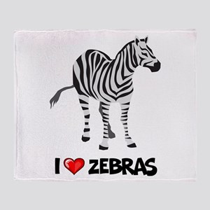 I Love Zebras Throw Blanket