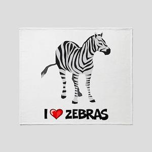 I Love Zebras Throw Blanket