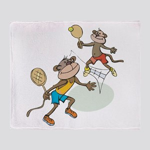 Monkey Tennis Throw Blanket