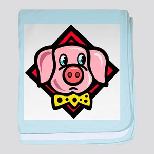 Pig With Tie baby blanket
