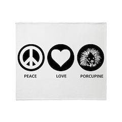 Peace Love Porcupine Throw Blanket