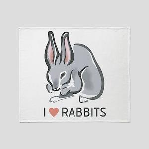I Love Rabbits Throw Blanket