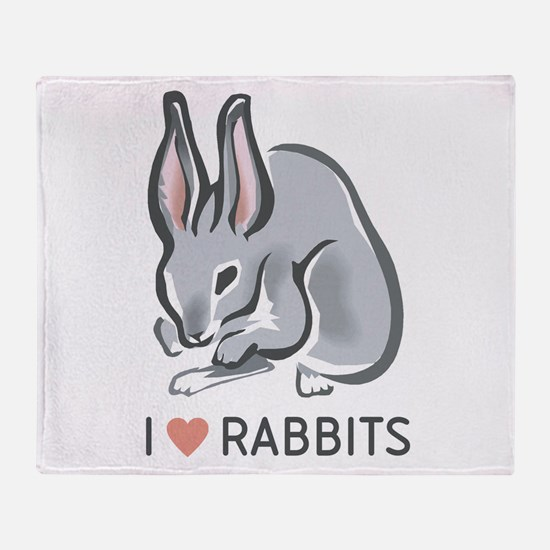 I Love Rabbits Throw Blanket
