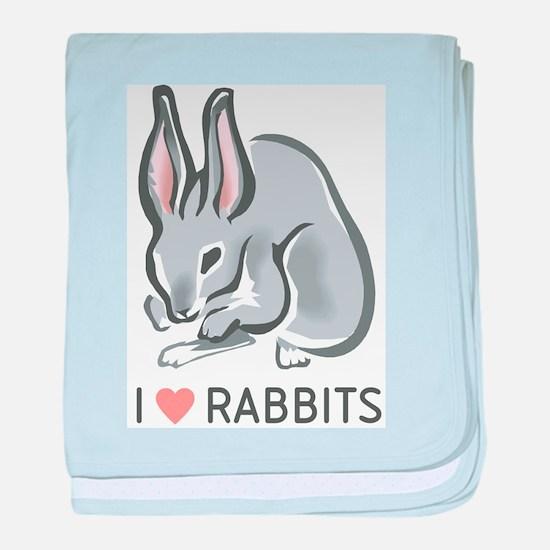 I Love Rabbits baby blanket