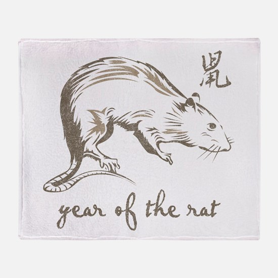 Vintage Year Of The Rat Throw Blanket