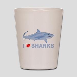 I Love Sharks Shot Glass