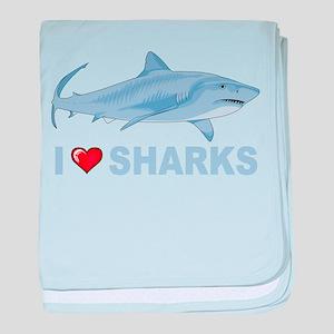 I Love Sharks baby blanket