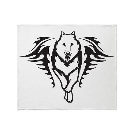 Tribal Wolf Throw Blanket