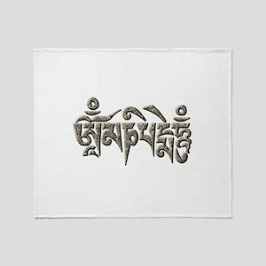 Antique Om Mani Padme Hum Throw Blanket