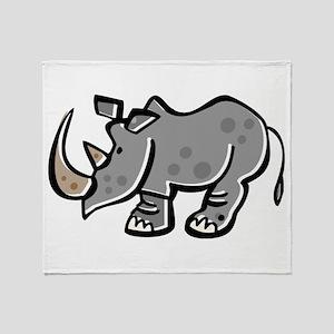 Cute Cartoon Rhinoceros Throw Blanket