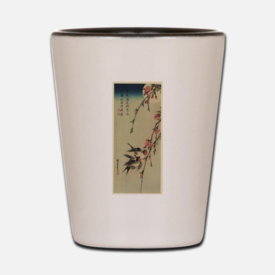 Hiroshige Swallows and Peach Blossoms Shot Glass