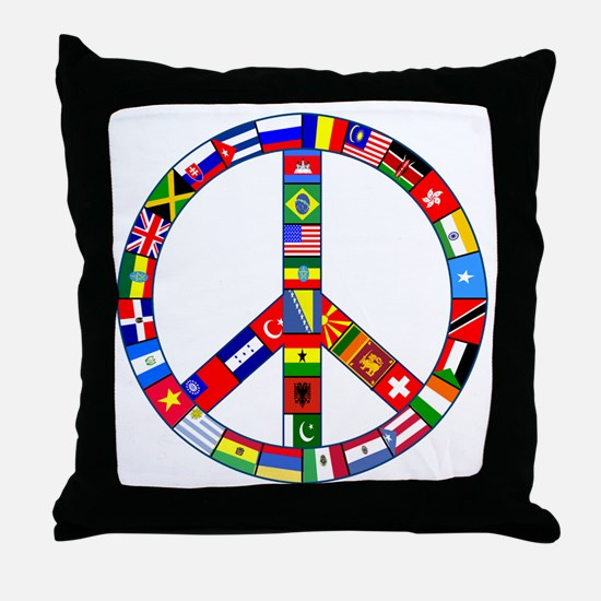 Peace Sign Made of Flags Throw Pillow
