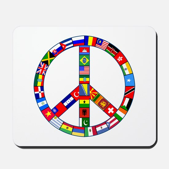 Peace Sign Made of Flags Mousepad