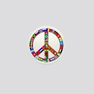 Peace Sign Made of Flags Mini Button