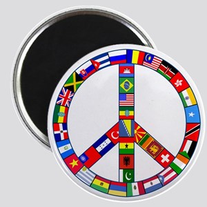 Peace Sign Made of Flags Magnet