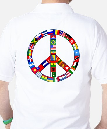 Peace Sign Made of Flags Golf Shirt