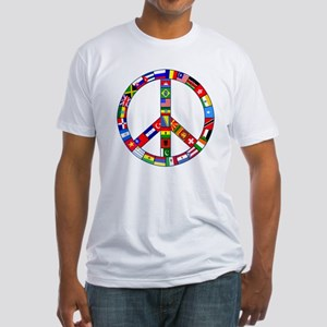 Peace Sign Made of Flags Fitted T-Shirt
