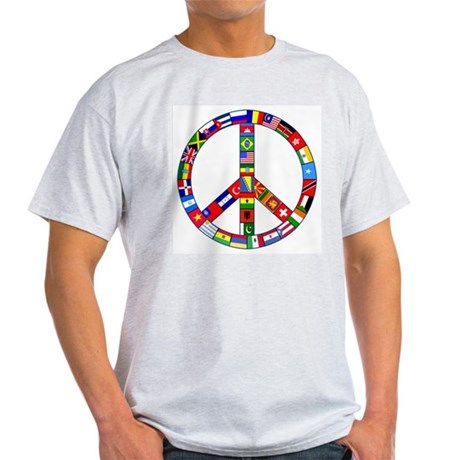 Peace Sign Made of Flags Light T-Shirt