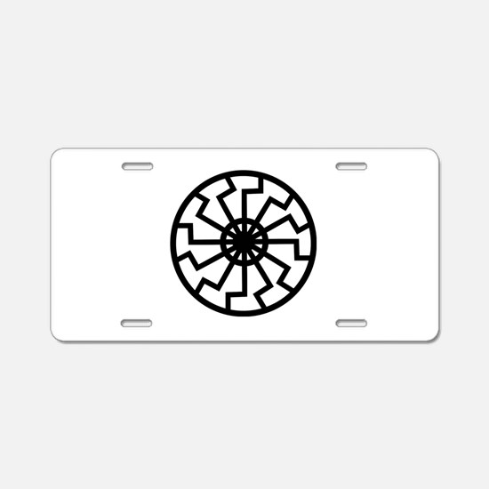 Black Sun Emblem Aluminum License Plate