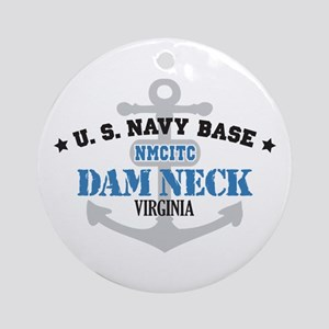 US Navy Dam Neck Base Ornament (Round)