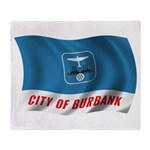 Wavy Burbank Flag Throw Blanket