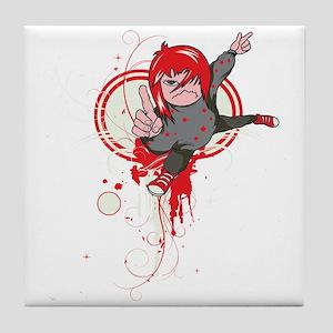 emo attitude vector design Tile Coaster