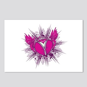 funky unzipped heart vector illustration Postcards