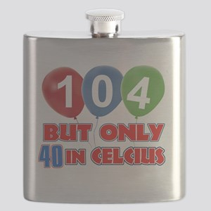 104 year old Funny birthday designs Flask