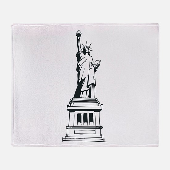 Hand Drawn Statue Of Liberty Throw Blanket