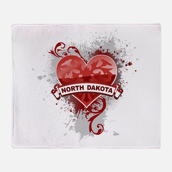 Heart North Dakota Throw Blanket