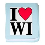 I Love Wisconsin baby blanket