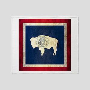 Grunge Wyoming Flag Throw Blanket