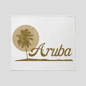 Palm Tree Aruba Throw Blanket