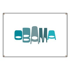 Funky Obama Oval (blue) Banner