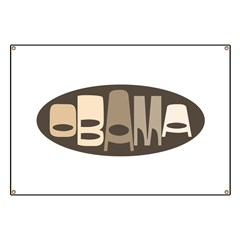 Funky Obama Oval (brown) Banner