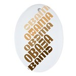 Stacked Obama Brown Ornament (Oval)