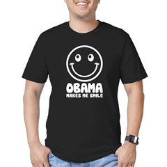 Obama Makes Me Smile Men's Fitted T-Shirt (dark)