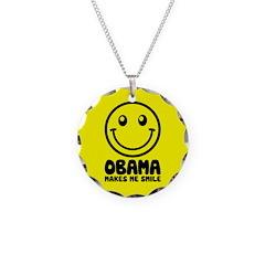 Obama Makes Me Smile Necklace Circle Charm