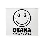 Obama Makes Me Smile Throw Blanket