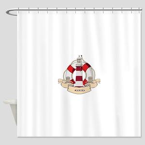 LIGHTHOUSE AND LIFEBELT Shower Curtain