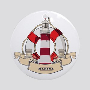 LIGHTHOUSE AND LIFEBELT Round Ornament