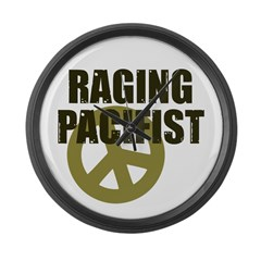 Raging Pacifist Large Wall Clock