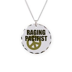 Raging Pacifist Necklace Circle Charm