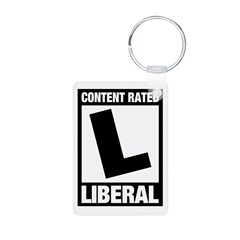 Content Rated Liberal Aluminum Photo Keychain