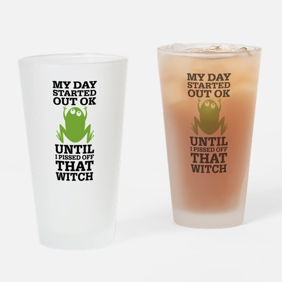 Funny Frog Mean Witch Drinking Glass