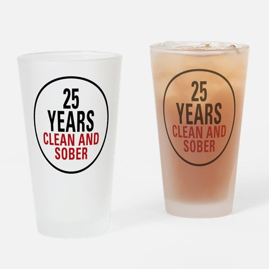 25 Years Clean and Sober Pint Glass