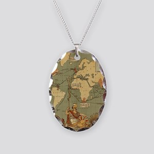 Antique World Map Vintage Eart Necklace Oval Charm