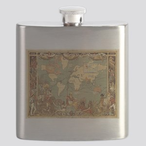 Antique World Map Vintage Earth Flask