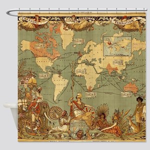 Antique World Map Vintage Earth Shower Curtain