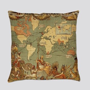 Antique World Map Vintage Earth Everyday Pillow